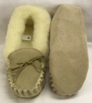 Ladies Suede Wool Lined Moccasins with a soft sole