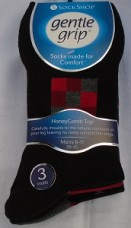 Gents gentle grip patterened socks in blacks