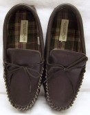 Unisex Dark Brown Leather Moccasins