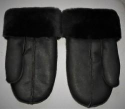 Gents charcoal grey sheepskin mitts