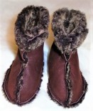 Sheepskin Baby Booties with velcro fastening and Turned Down Wool Top