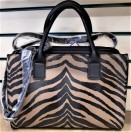 Animal print faux leather handbag beige-black