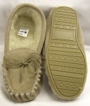 Unisex Suede Wool Lined Moccasins with hard sole size 12