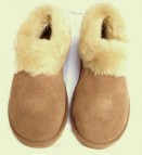 Ladies Sheepskin Slippers with a hard sole and full sheepskin collar