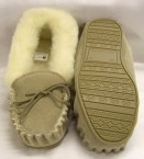 Ladies Suede Wool Lined Moccasins with a hard sole