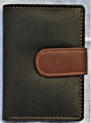 Leather credit card wallet in black brown