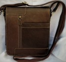 Leather unisex over body messenger bag brown
