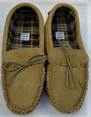 Beige suede moccasins with a tartan cotton lining